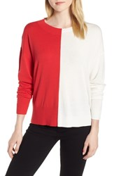 Trouve Asymmetrical Pullover Sweater Red Poinsettia Ivory