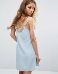 Rvca Cami Dress With Harness Strapping Chambray Blue