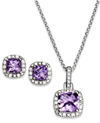 Victoria Townsend Sterling Silver Pendant And Earrings Set Amethyst 2 1 3 Ct. T.W. And Diamond Accent Square