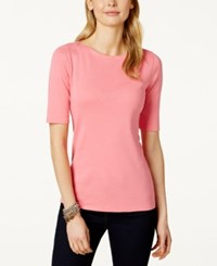 Charter Club Elbow Sleeve Boat Neck Pima Cotton Tee