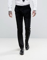 Noose And Monkey Super Skinny Suit Trousers In Crocodile Velvet Black