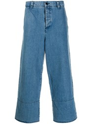 Sunnei Wide Leg Cropped Trousers Blue