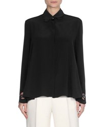 Fendi Scalloped Trim Open Back Blouse Black