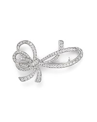 Bloomingdale's Diamond Bow Brooch In 14K White Gold 1.20 Ct. T.W.