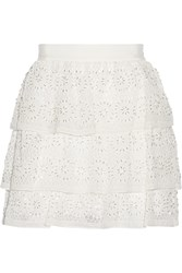 Alice Olivia Ruba Tiered Crochet Knit Silk Mini Skirt White