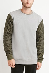 Forever 21 Quilted Colorblock Sweatshirt Heather Grey Olive