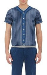 Visvim Striped Baseball Shirt Blue
