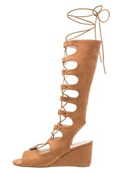 Missguided Wedge Sandals Tan Brown
