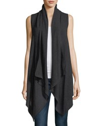 Neiman Marcus Superfine Cashmere Mesh Hooded Vest Charcoal
