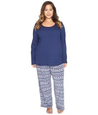 Jockey Plus Size Microfleece Pj Set Polar Bear Fair Isle Women's Pajama Sets Blue