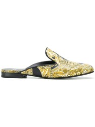 Versace Baroque Printed Mules Yellow And Orange