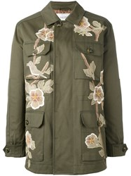 Valentino Floral Detail Military Coat Green