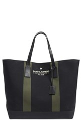 Saint Laurent 'Beach' Canvas Tote Black Noir Khaki