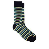 Barneys New York Meier Cotton Blend Mid Calf Socks Navy