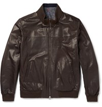 Isaia Reversible Leather Bomber Jacket Brown
