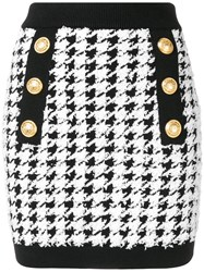 Balmain Houndstooth Mini Skirt Black