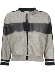 Aviu Knitted Bomber Jacket With Sheer Panel Blue