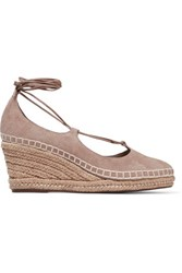 Schutz Giza Lace Up Suede Wedge Espadrille Sandals Taupe