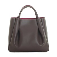 Alexandra De Curtis Ashley Midi Ruched Tote Taupe Grey Brown