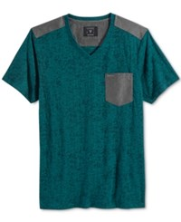 Guess Men's Central Burnout V Neck Pocket T Shirt Deep Teal Multi