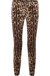 Dolce And Gabbana Cropped Leopard Print Skinny Jeans Brown