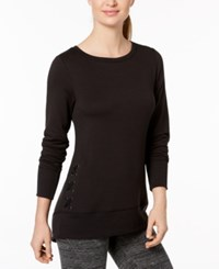 Ideology Tonal Print Lace Up Sides Top Created For Macy's Noir