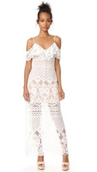 Wayf Luxia Off Shoulder Maxi Dress Ivory Lace