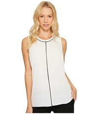 Vince Camuto Sleeveless Color Block Blouse With Contrast Piping New Ivory Women's Blouse Bone