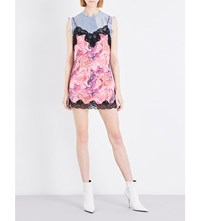 Marques Almeida Marble Print Satin Slip Dress Lava Pink