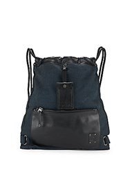 Diesel Leather And Fabric Drawstring Bag Black