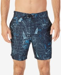 Nautica Men's Map Print Swim Trunks Navy