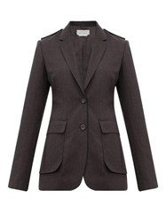 Gabriela Hearst Wesley Raw Edged Wool Blazer Dark Grey