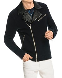 Scotch And Soda Wool Blend Biker Jacket Navy