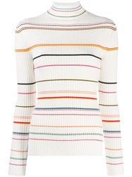 Sjyp Striped Ribbed Sweater White