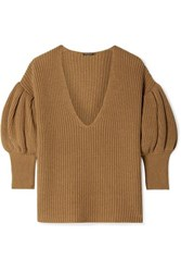 Caroline Constas Ribbed Cotton And Wool Blend Sweater Camel