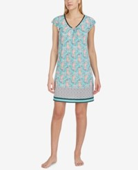 Ellen Tracy Printed Short Sleeve Nightgown Seafoam Print