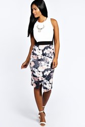 Boohoo Floral Contrast Asymetric Midi Bodycon Dress Multi