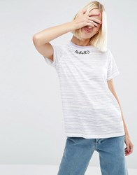 Asos T Shirt With Awkwrd Embroidery In Pretty Stripe Multi