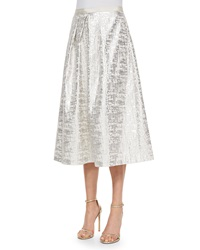 Phoebe Couture Jacquard Midi Ball Skirt Silver