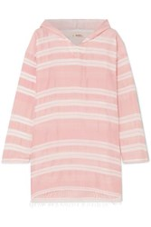 Lemlem Doro Frayed Striped Cotton Blend Gauze Hoodie Pink