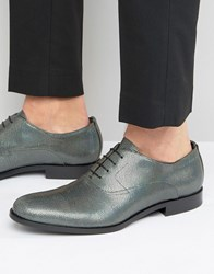 Hugo By Boss Sigma Snake Metalic Oxford Shoes Silver
