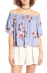 Astr Women's Esme Off The Shoulder Blouse Periwinkle Floral