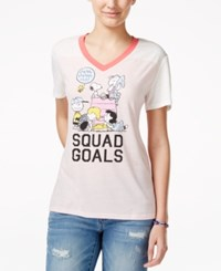 Hybrid Juniors' Peanuts Graphic T Shirt Coral Ivory Neon Coral