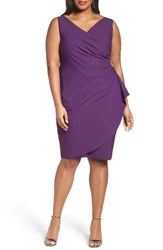 Alex Evenings Plus Size Women's Embellished Surplice Sheath Dress Summer Plum