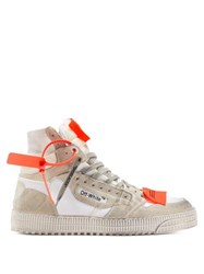 Off White Court High Top Leather Trainers White