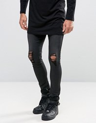 Asos Extreme Super Skinny Jeans With Knee Rips In Leather Look Black