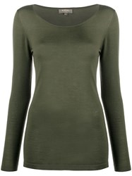 N.Peal Long Sleeved Cashmere Top Green