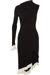 Esteban Cortazar Asymmetric One Shoulder Ribbed Stretch Knit Midi Dress Black