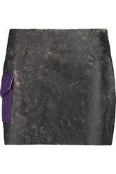 Acne Studios Sterling Distressed Leather Mini Skirt Black
