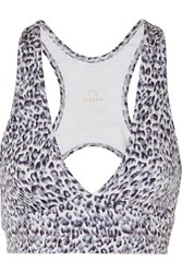 Varley Walsh Cutout Printed Stretch Sports Bra Gray